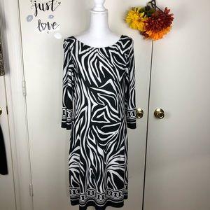 GLAMOUR WOMEN ZEBRA PRINT SHIFT DRESS SZ 12